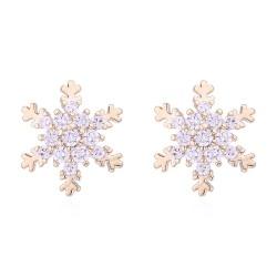 Обеци Снежинки голд